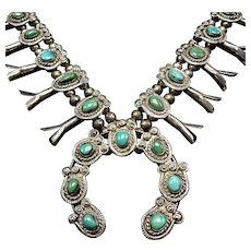 CLASSIC Vintage Navajo Sterling Silver and Fox TURQUOISE Squash Blossom