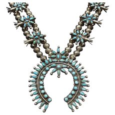 Vintage ZUNI Sterling Silver Turquoise Petit Point SQUASH Blossom Necklace