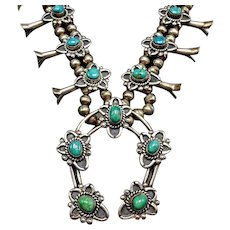 SUBSTANTIAL Vintage NAVAJO Sterling Silver and Turquoise Squash Blossom Necklace