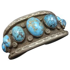 OLD PAWN Vintage Navajo Sterling Silver High Blue Turquoise Cuff BRACELET 69.5g