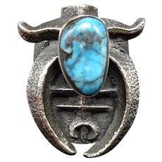 Outstanding Navajo TUFA Cast Sterling Silver NAJA and TURQUOISE Ring, size 7.5