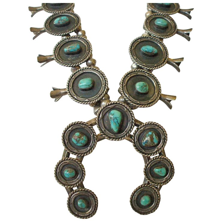 18964719003e Exceptional Vintage NAVAJO SterlingSilver TURQUOISE Squash Blossom    Turquoise Kachina