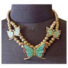 Vintage Navajo Sterling Silver CORAL & TURQUOISE Chip Inlay Butterfly NECKLACE