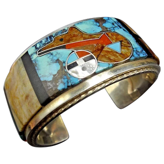 Gilbert Calavaza Zuni Sterling Silver SUN FACE Bear Fetish Inlay Cuff BRACELET