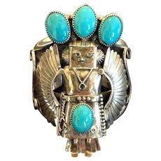 Sensational Vintage Navajo Sterling Silver Turquoise Eagle Kachina Cuff BRACELET