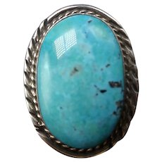 Classic Vintage Navajo Sterling Silver Huge Fox TURQUOISE Ring Wide Band, size 8