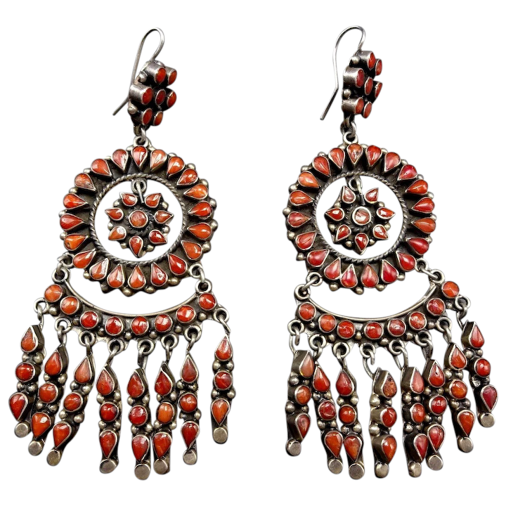 cb97a20dc Very Best FEDERICO JIMENEZ Sterling Silver Old Red Med Coral Cluster :  Turquoise Kachina | Ruby Lane