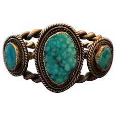 HEAVY Vintage Navajo Sterling Silver and WATERWEB TURQUOISE Cuff Bracelet 108g