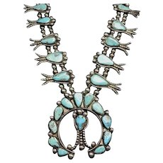 Old 1930s Vintage Navajo Sterling Silver and Turquoise Squash BLOSSOM Necklace
