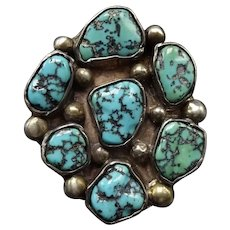 Vintage Navajo Sterling Silver & Old Kingman TURQUOISE Cluster RING, size 7