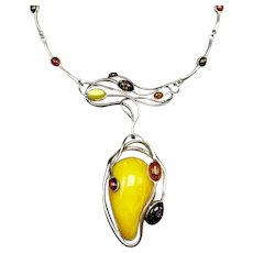 Vintage Sterling Silver Amber Art Nouveau Necklace Egg Yolk, Cognac, Honey