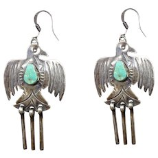 Old Style Navajo Hand Stamped Sterling Silver TURQUOISE ThunderBird EARRINGS