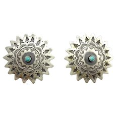 HUGE Hand-Stamped Sterling Silver and Turquoise Navajo Sunburst Earrings