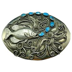 Signed Vintage Navajo Sterling Silver TURQUOISE Belt Buckle Fish Blowing Bubbles