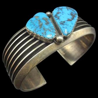 Elegant Vintage Navajo Sterling Silver and MORENCI Turquoise Cuff Bracelet 83.9G