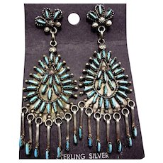Signed Vintage Zuni Sterling Silver & NEEDLEPOINT Chandelier TURQUOISE EARRINGS
