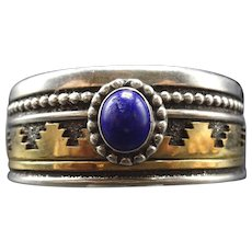 Vintage Navajo Sterling Silver and Gold Overlay Blue Lapis LAZULI Cuff BRACELET