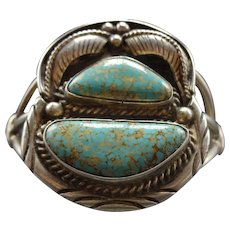 Signed Vintage Navajo Sterling Silver and Number 8 TURQUOISE Cuff Bracelet 54g
