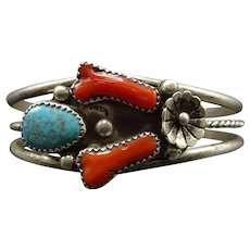 Vintage Navajo Sterling Silver Branch CORAL & TURQUOISE Cuff BRACELET 18g