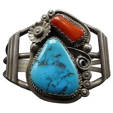 SIGNED Vintage Navajo Sterling Silver Coral & TURQUOISE Cuff BRACELET 42G