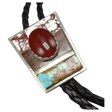 Courage Benally Navajo Sterling Silver Bolo Tie, CARNELIAN Turquoise Wild Horse