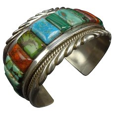 85cf41a6914 HUGE Navajo Sterling Silver TURQUOISE Cobblestone Inlay Cuff Bracelet 158g
