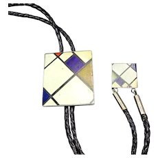 Vintage SOUTHWESTERN Bolo Tie Inlaid Stones MONDRIAN Homage Sterling Silver