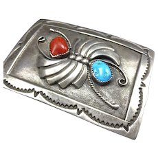 Signed Vintage Navajo Hand Stamped Sterling Silver Coral & Turquoise BELT BUCKLE