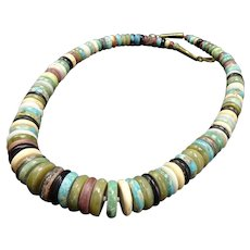 Vintage ORLANDO CRESPIN Multi Stone Disc Beads and Brass NECKLACE