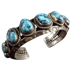 LARGE WRIST Vintage Navajo Sterling Silver Apache Turquoise Cuff BRACELET 121g