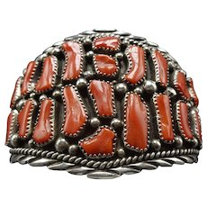 Signed Vintage Navajo Sterling Silver and Coral Cluster BRACELET 55g Wide Cuff