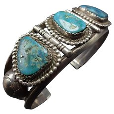 Vintage Navajo Sterling Silver and Natural MORENCI Turquoise Cuff BRACELET 50.7g