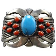 Vintage Navajo Sterling Silver Coral CLUSTER and TURQUOISE Cuff BRACELET 77.1g