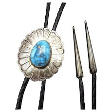 Vintage Navajo Hand-Stamped Sterling Silver Concho MORENCI Turquoise Bolo Tie