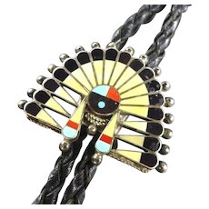 Vintage ZUNI INLAY Sun Face Headdress Bolo Tie, Leather Cord Sterling Tips