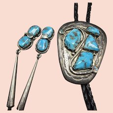 Vintage Effie CALAVAZA Sterling Silver Snakes TURQUOISE Bolo Tie MATCHING Tips