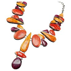 Kathleen Chavez Navajo Sterling Silver Orange Purple Spiny Oyster Shell NECKLACE