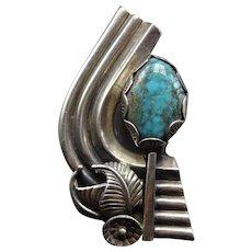 Huge Vintage Navajo Sterling Silver BISBEE TURQUOISE Ring size 7 adjustable, 33g