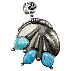 HUGE and Heavy Vintage NAVAJO Sterling Silver Turquoise Squash Blossom PENDANT
