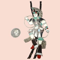 EDDIE BEYUKA Vintage Zuni Sterling Silver Turquoise Bolo Tie Native DANCER