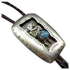 Vintage Navajo Sterling Silver Shadow Box CANDELARIA Turquoise Kachina Bolo Tie