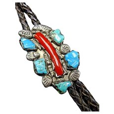 Vintage 1940s Zuni Sterling Silver TURQUOISE and Branch CORAL Slide BOLO Tie