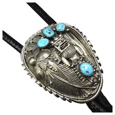 MUSEUM Vintage Navajo Sterling Silver TURQUOISE Kachina Bolo Tie, Fabulous TIPS