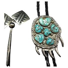Vintage NAVAJO Bear Paw Turquoise Cluster BOLO Tie, Sterling Tips with Dangles