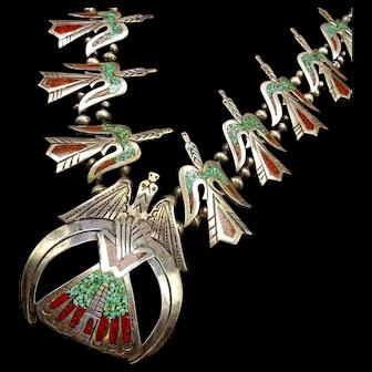 Vintage Navajo Peyote Bird TURQUOISE Coral Chip Inlay SQUASH Blossom Necklace