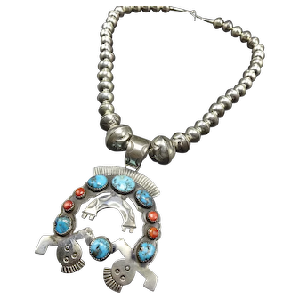 Hand-Stamped Sterling Turquoise Coral Friendship Yei Naja NECKLACE Navajo Pearls
