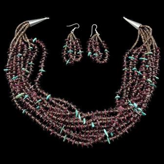 Nellie Tenorio Kewa Sterling Purple Spiny 10-Strand HEISHI Necklace Earrings Set