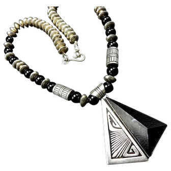 NELSON BEGAY Sterling Silver Overlay Black Jet Necklace Navajo Pearls and Beads