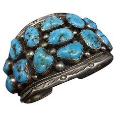 Signed Vintage Navajo Sterling Silver & Kingman TURQUOISE Cluster Cuff Bracelet