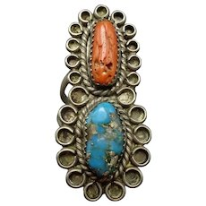 Vintage Navajo Sterling Silver MORENCI Turquoise and Old Red Coral RING size 7